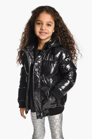 Appaman Black Glitter Puffy Girls Coat