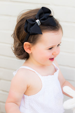 Black Glitter Boutique Bow Headband