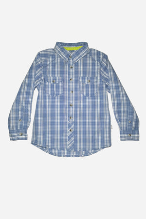 Wheat Blue Checkered Boys Shirt
