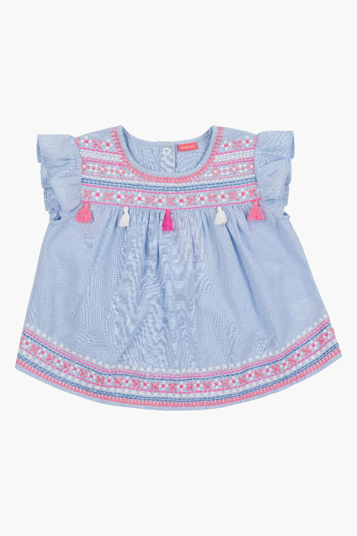 Sunuva Blue Embroidered Baby Girls Set
