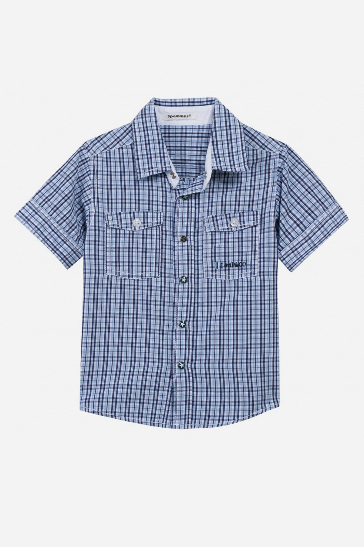 3pommes Navy Checkered Shirt