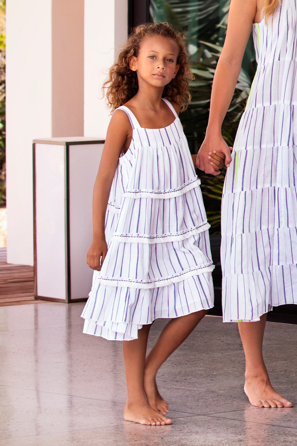 Sunuva Blue Stripe Tier Girls Dress