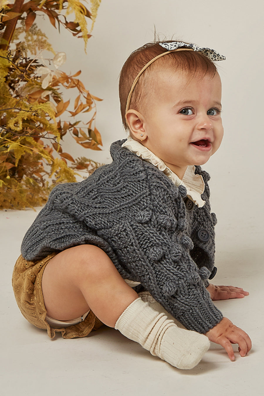 Rylee + Cru Bobble Baby Cardigan - Washed Indigo