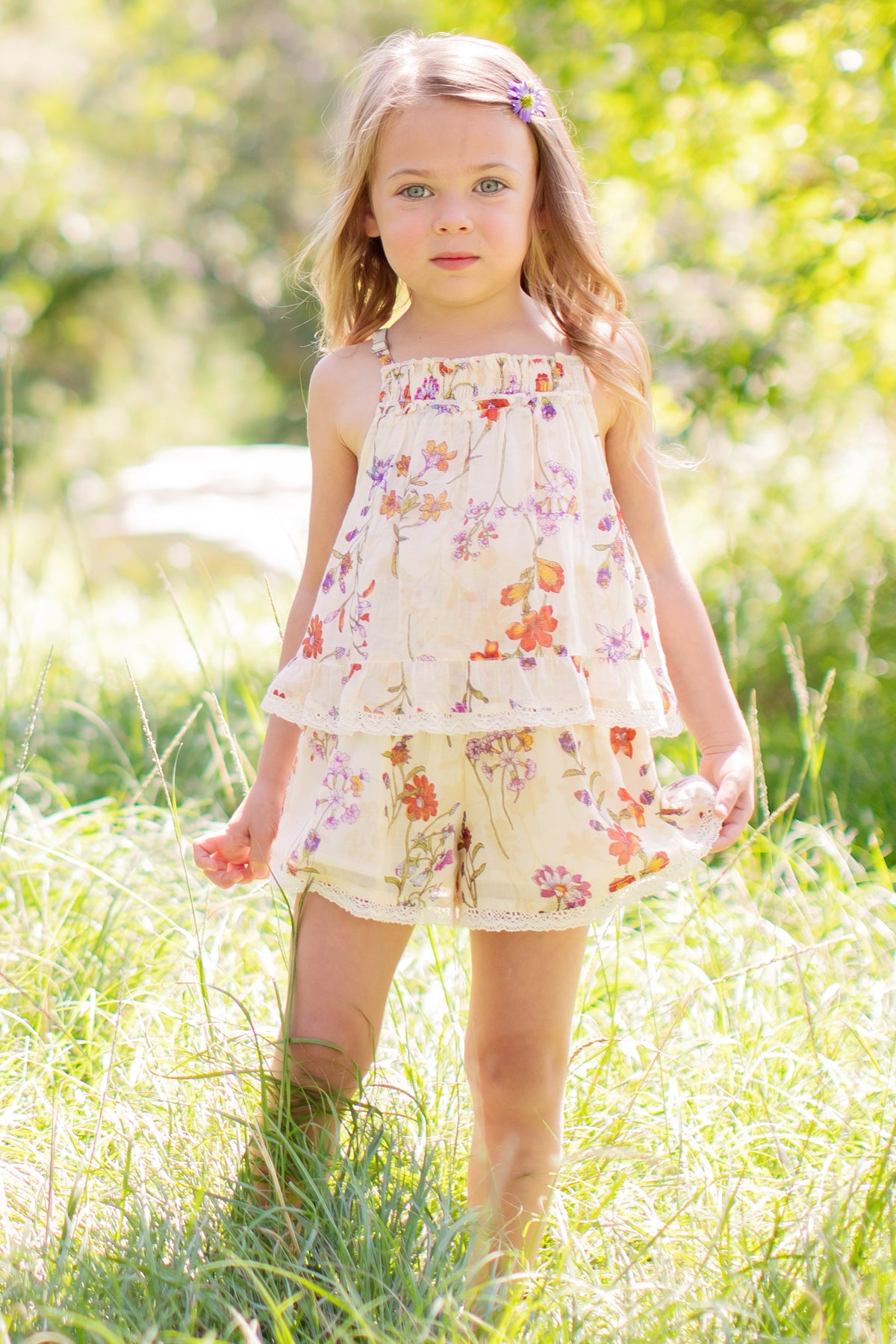 Mimi & Maggie Botanical Flowers Girls Romper