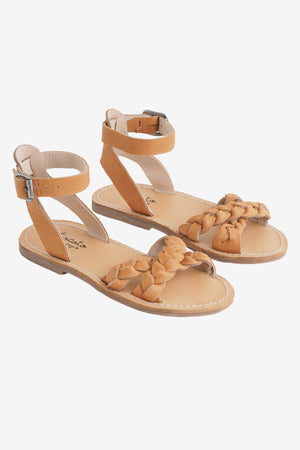 Tocoto Vintage Leather Braided Sandal