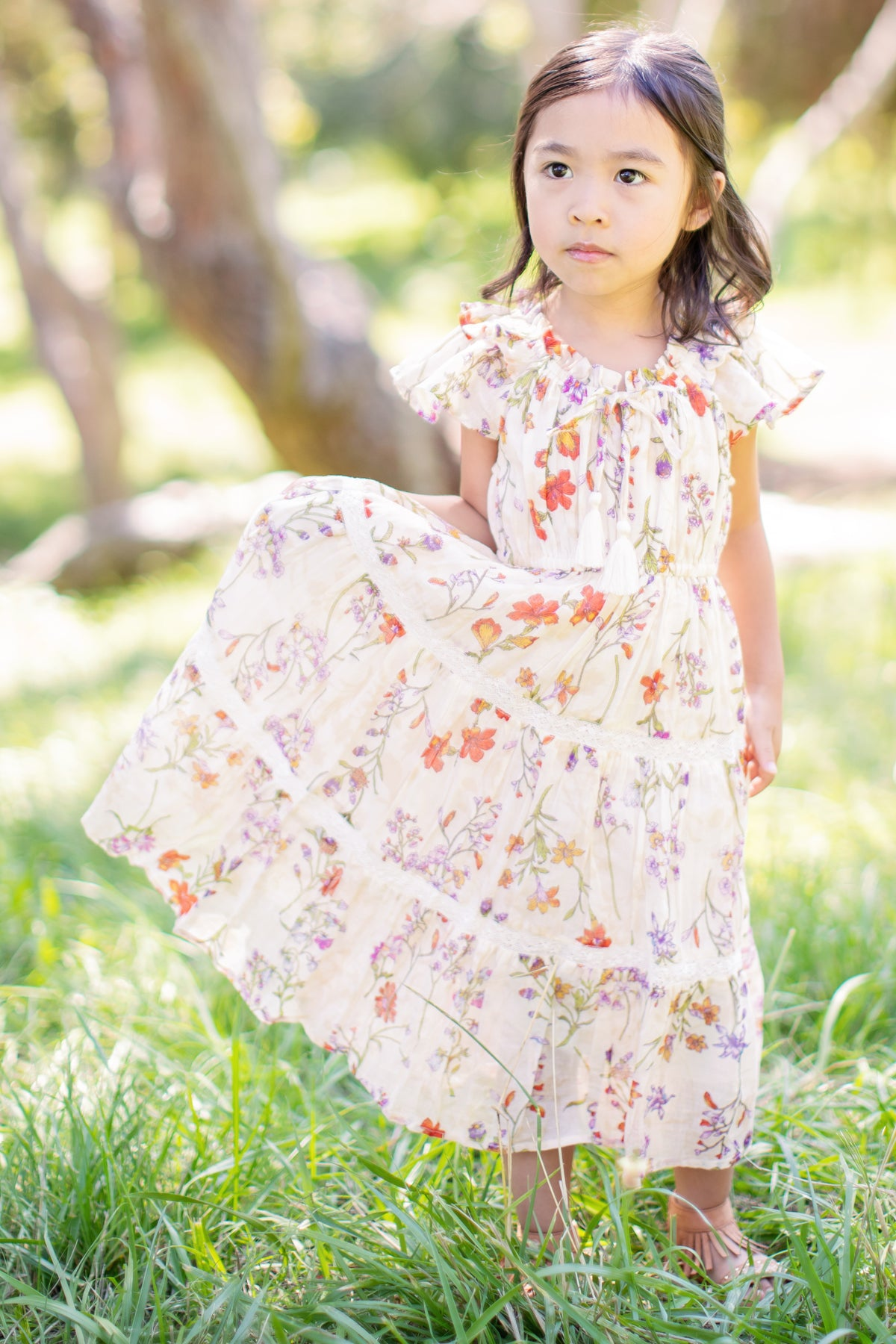Mimi & Maggie Butterfly Garden Midi Girls Dress