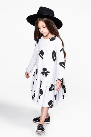 OMAMImini Cats And Hats Ruffle Dress - Cloud