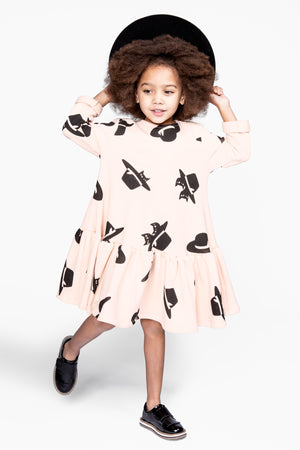 OMAMImini Cats And Hats Ruffle Dress - Pale Pink