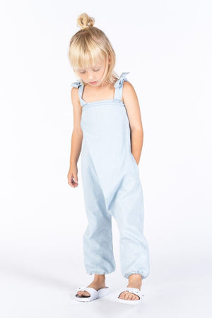 OMAMImini Chambray Pleated Jumpsuit - Light Blue