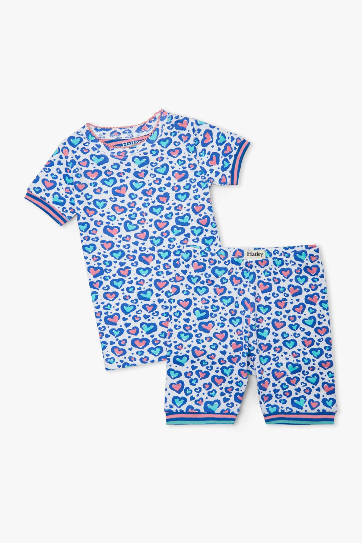 Hatley Cheetah Hearts Girls Pajama Set