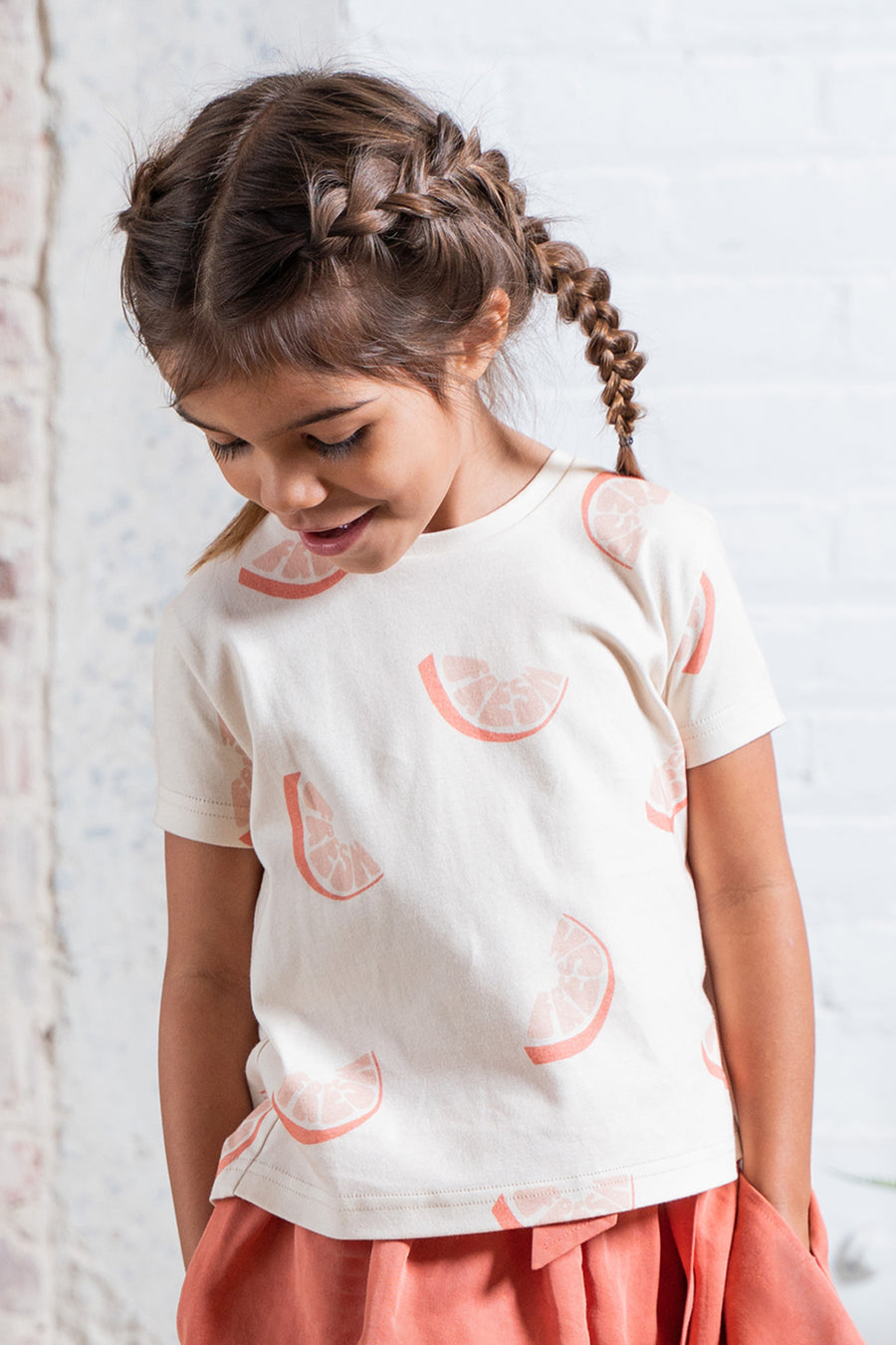 OMAMImini Circle Hem Girls Shirt - Fresh Orange