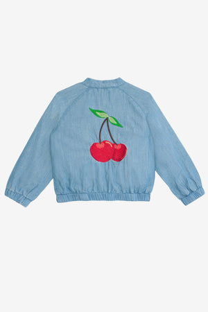 Wild & Gorgeous Baby Denim Cherry Bomber