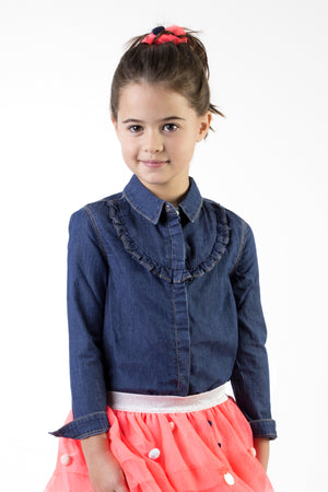 Billieblush Denim Ruffle Girls Shirt