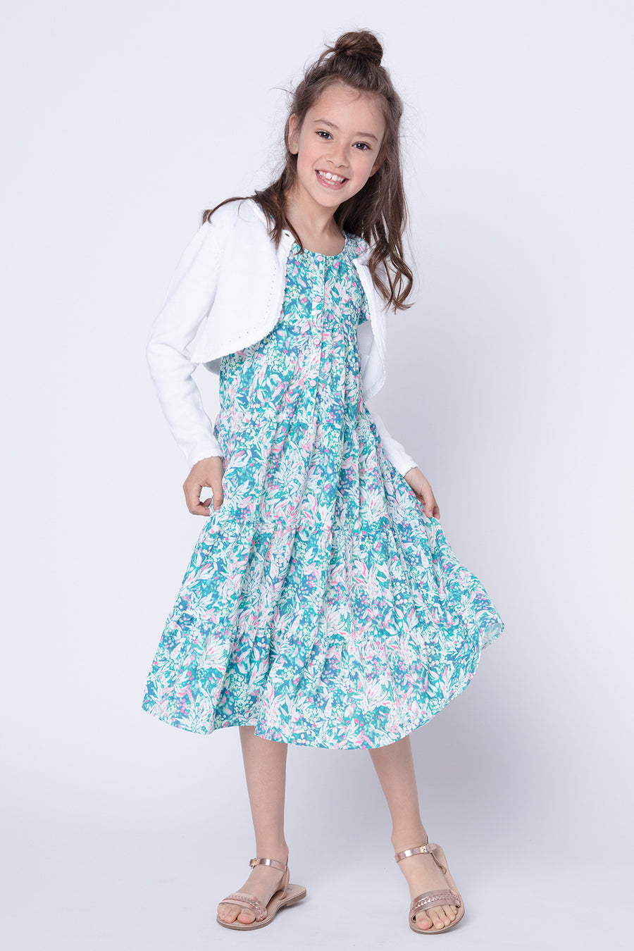 3pommes Floral Flutter Girls Dress