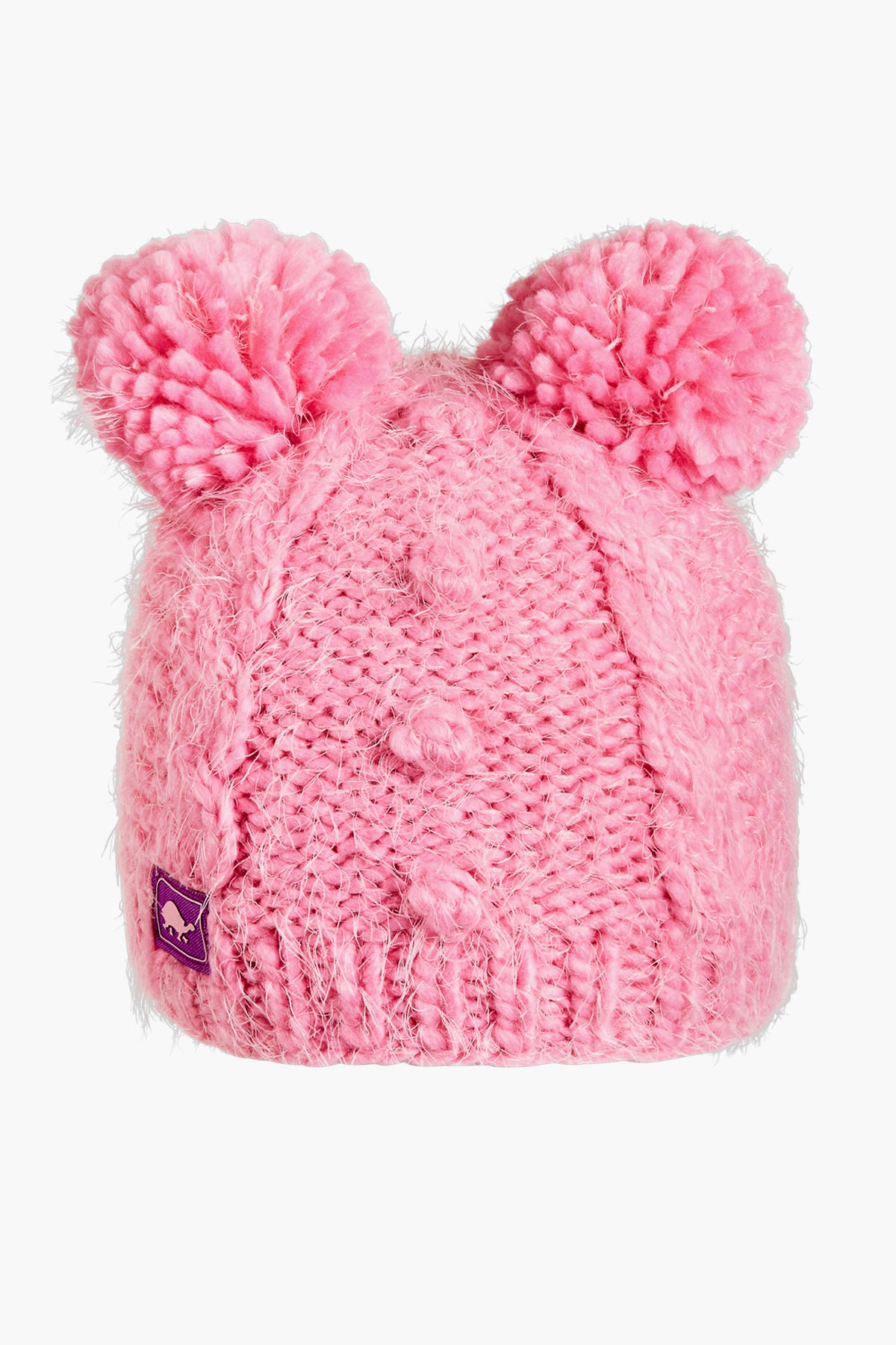 Turtle Fur Fluff Balls Pom Pom Hat - Bubble Gum