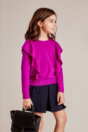 Autumn Cashmere Ruffle Crew Girls Sweater (Size 4/5 left)