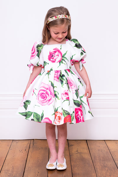 David Charles Giant Rose Girls Dress