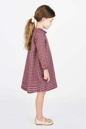 Go Gently Nation Gingham Ruffle Neck Dress