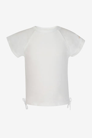 White Short-Sleeve Rash Guard Top