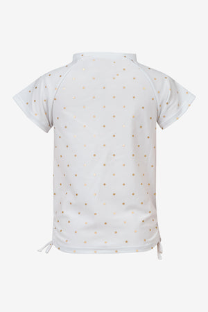 Gold Polka Dot Rash Guard Top