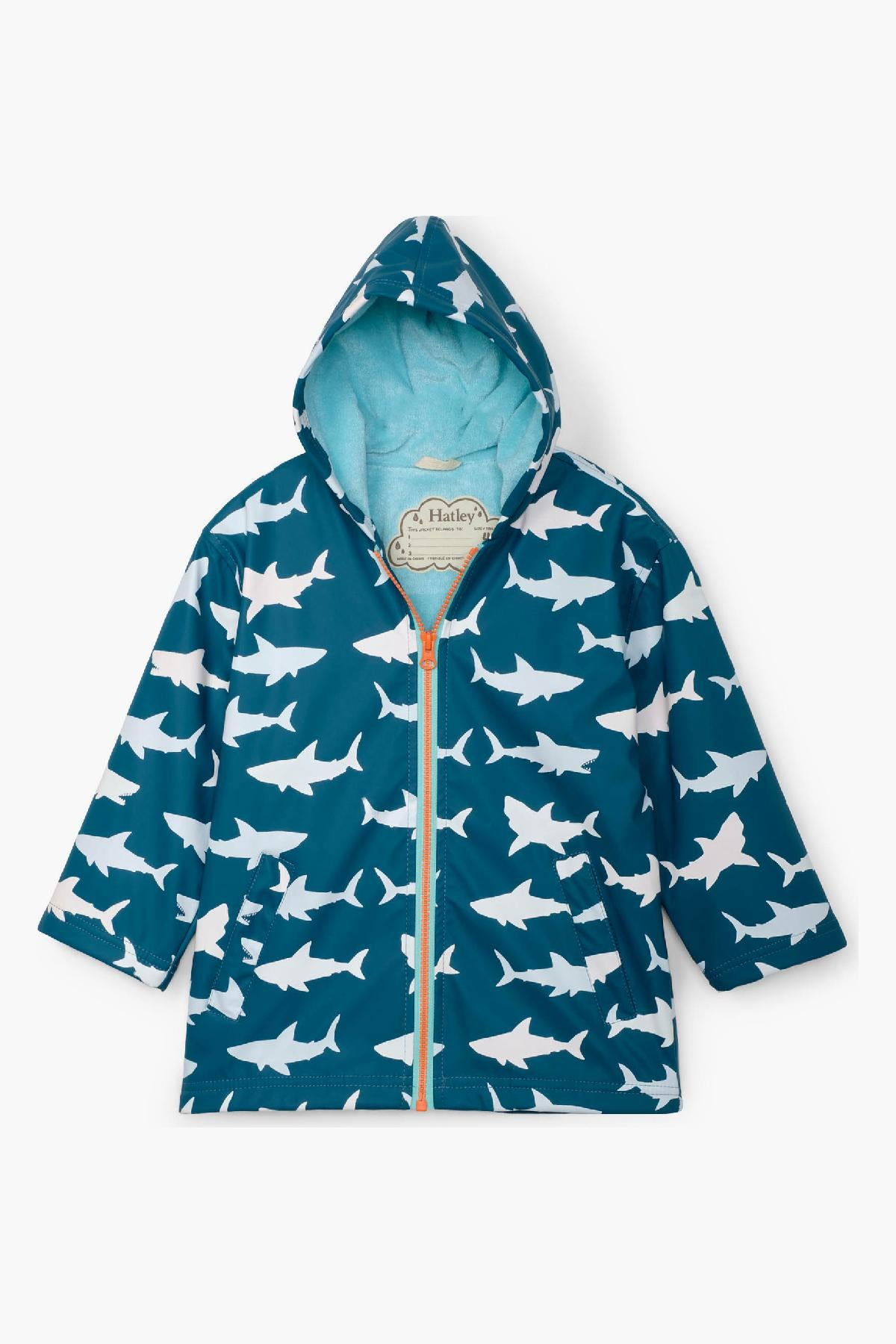 Hatley Great White Sharks Color Changing Boys Raincoat