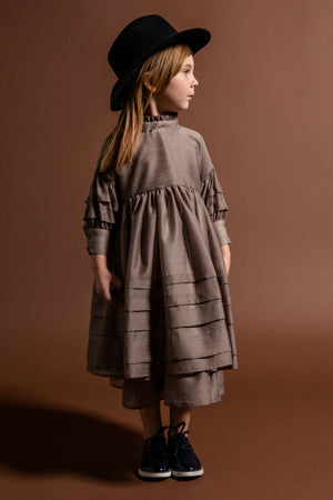OMAMImini Layered Voile Dress - Taupe