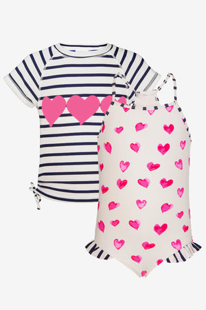 Hearts Girls Swimsuit and Rash Top Set (Size 3 left)