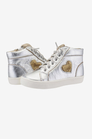 Old Soles Heart Felt High Top - Silver