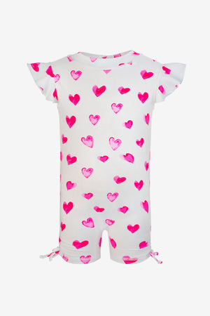 Hearts Flutter Sleeve 1-piece Baby Swimsuit