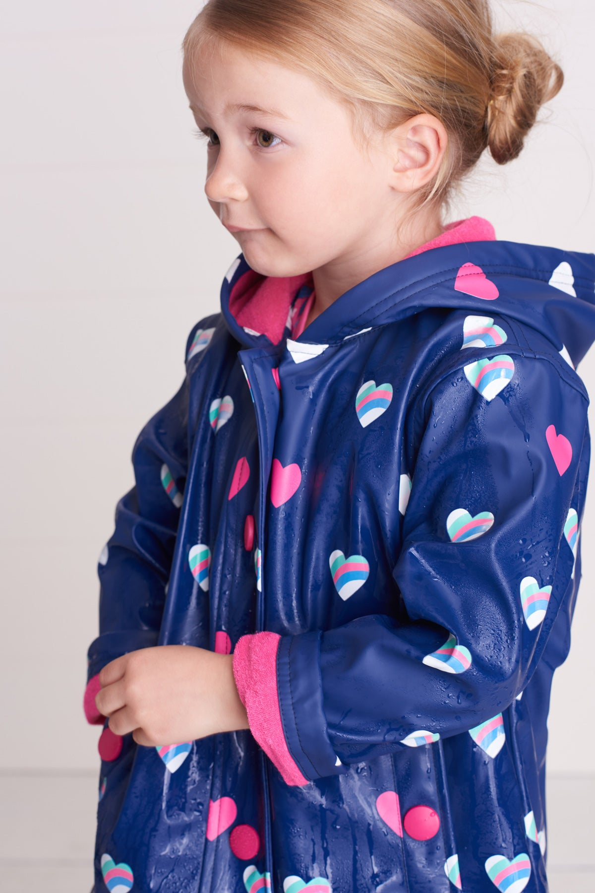 Hatley Hearts Color Changing Girls Raincoat