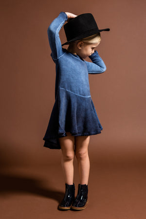 OMAMImini Hi-Low Fleece Dress - Vintage Blue