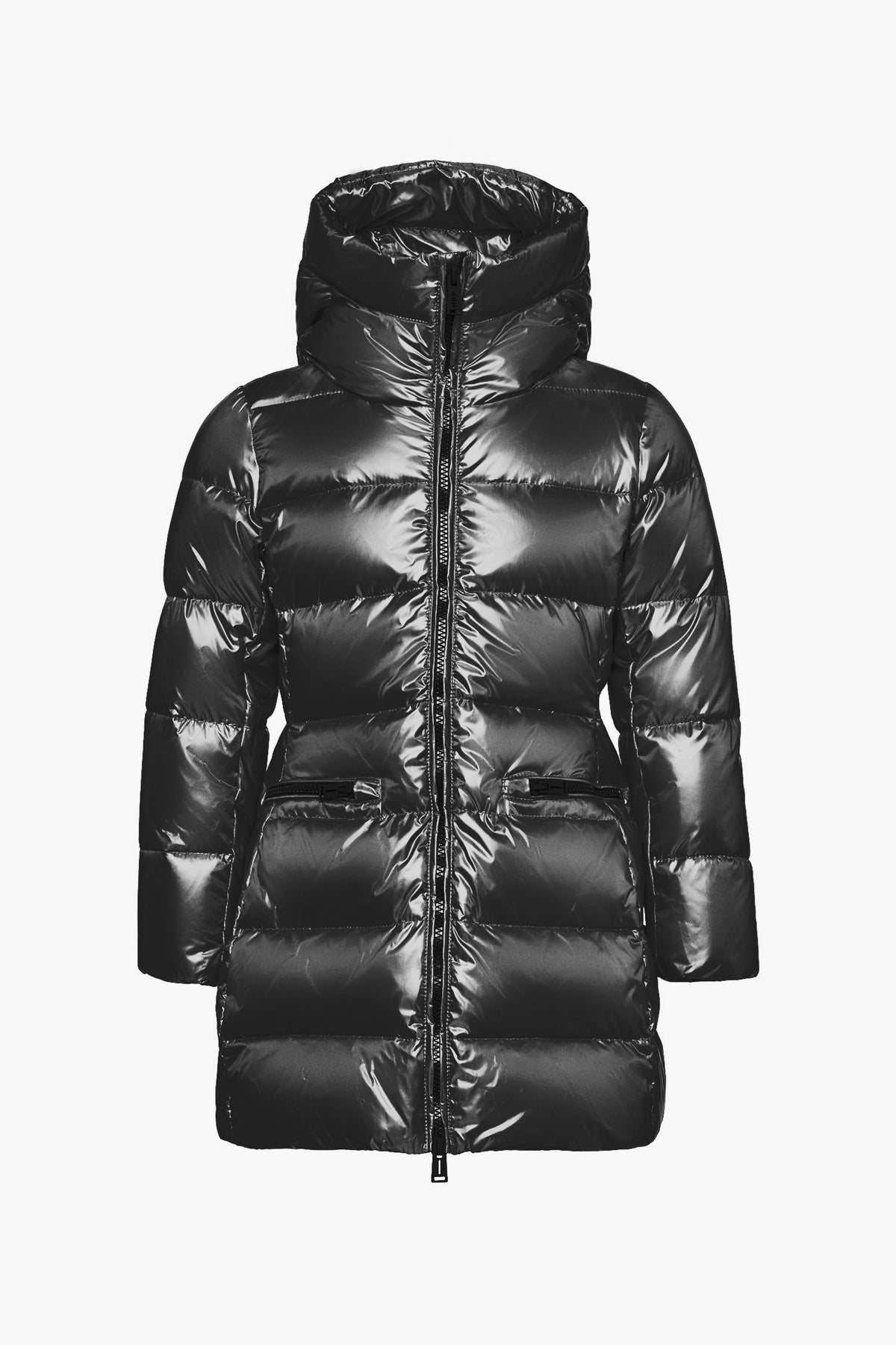 ADD Down Hooded Down Girls Puffy Coat - Black