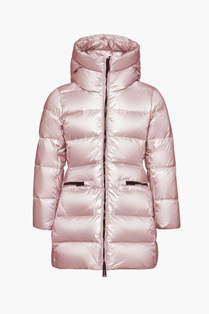 ADD Down Hooded Down Girls Coat - Blush