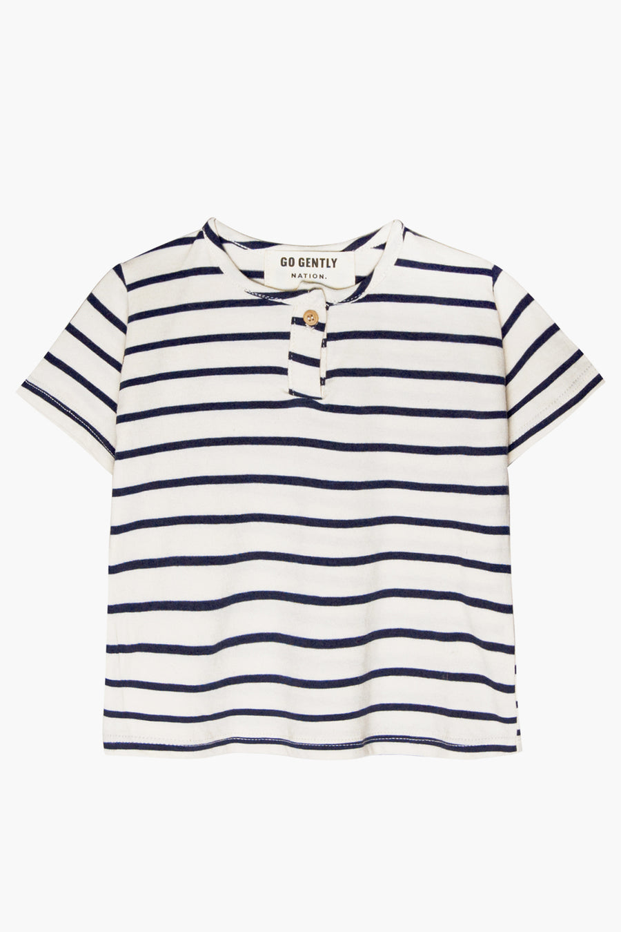 Go Gently Nation Jersey Henley - Navy Stripe