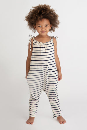Go Gently Nation Jersey Jumpsuit - Navy Stripe