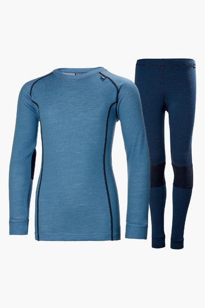 Helly Hansen Jr Lifa Merino Boys Baselayer Set - Blue Fog