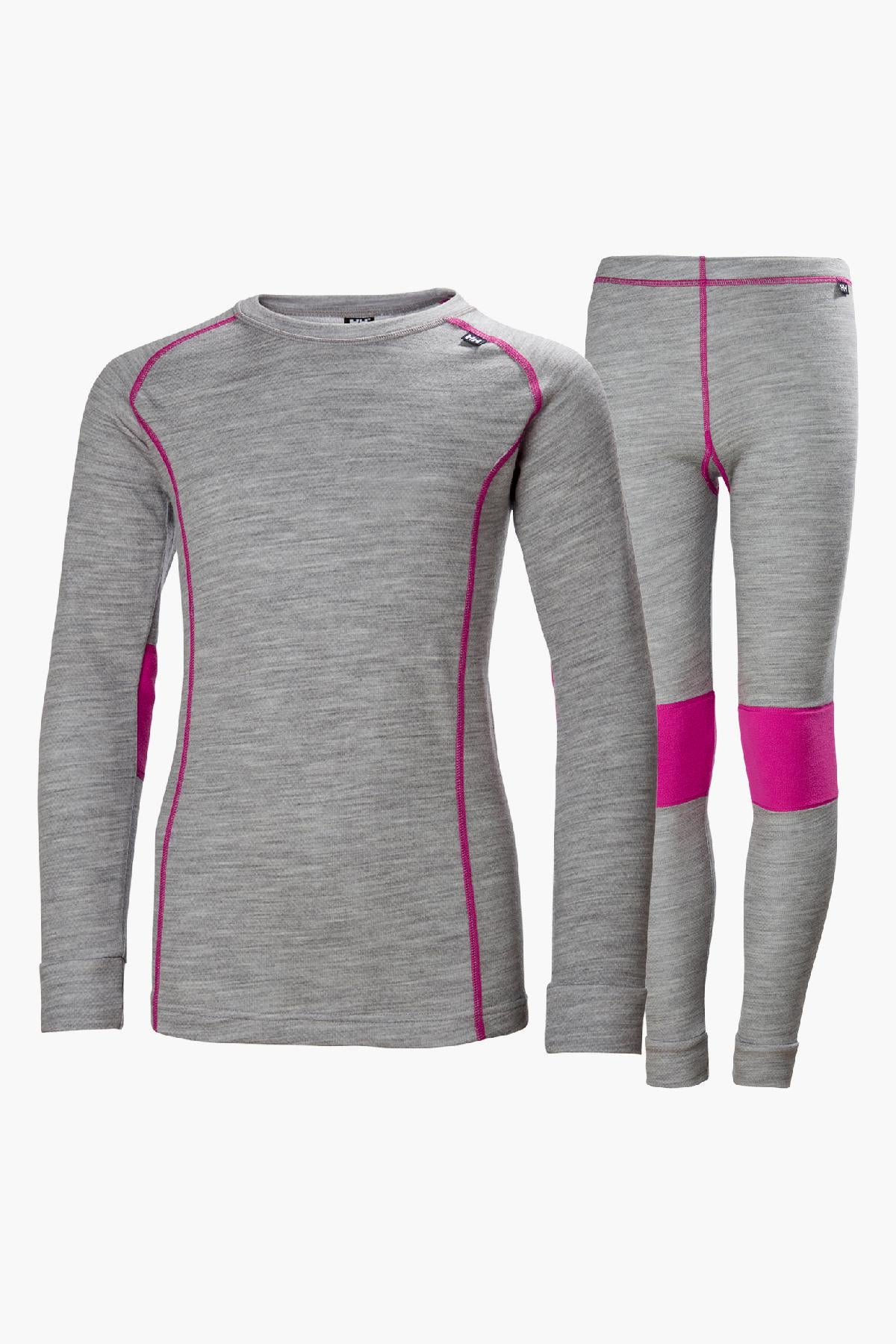 Helly Hansen Jr Lifa Merino Girls Baselayer Set - Grey Melange