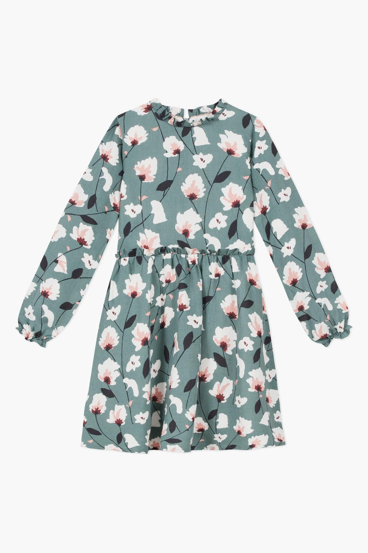 Jean Bourget Lagoon Blue Floral Dress