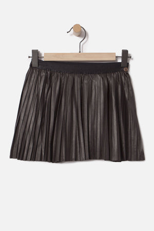 IKKS Pleated Faux Leather Girls Skirt (Size 6 left)