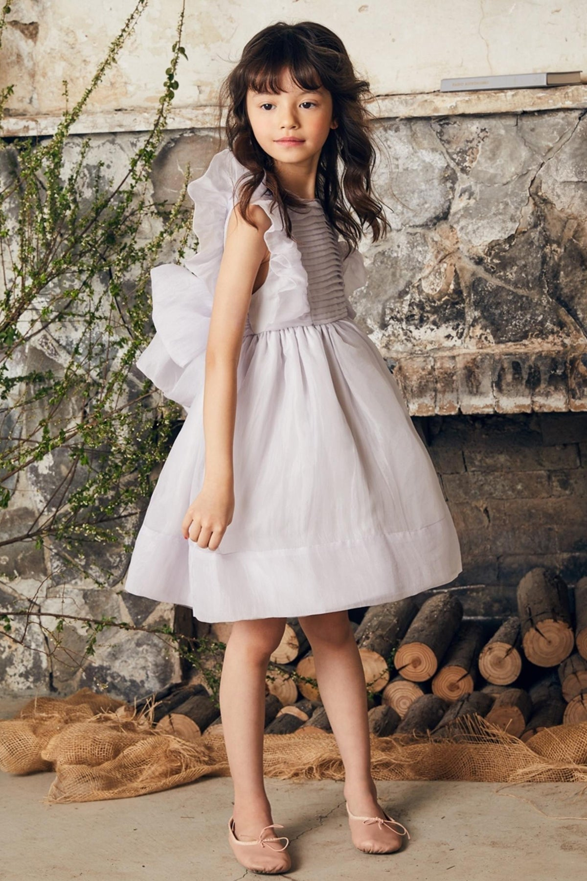 Nellystella Mae Girls Dress - Dove Grey