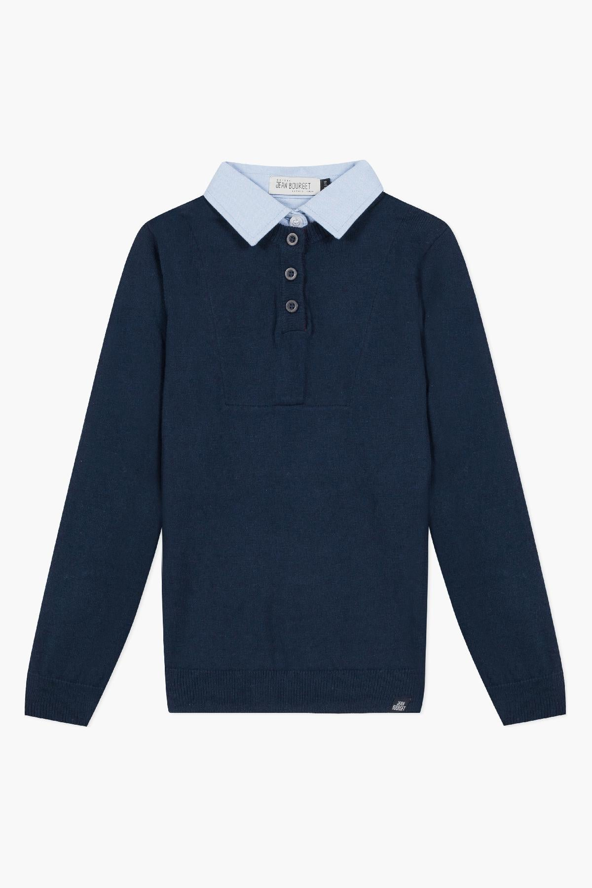 Jean Bourget Marine Blue Polo Sweater