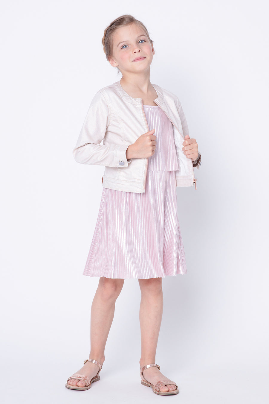 3pommes Metallic Rose Girls Dress