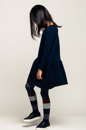 Noch Mini Organic Drop Waist Girls Dress - Navy