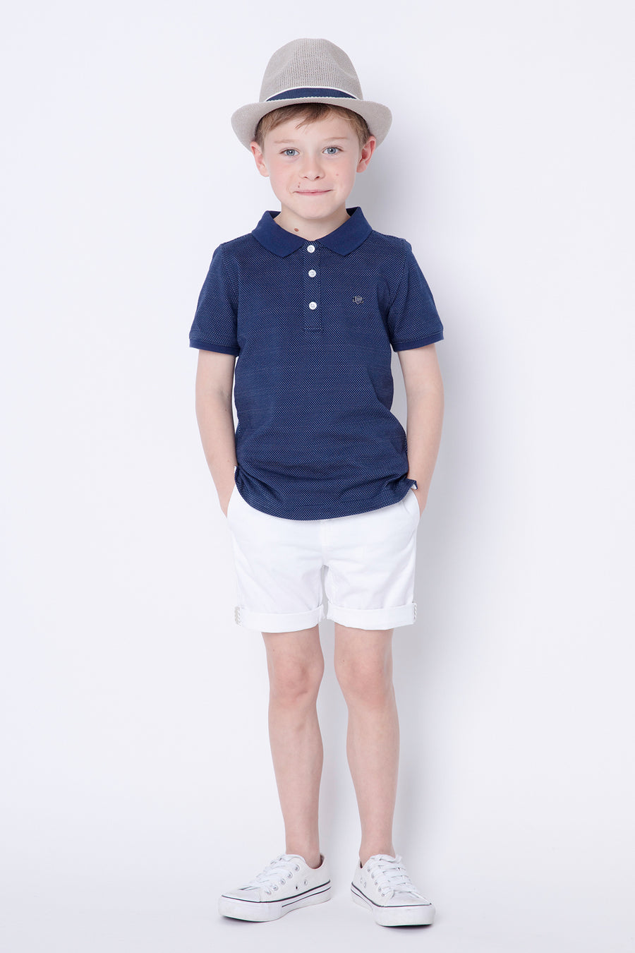 3pommes Navy Boys Polo