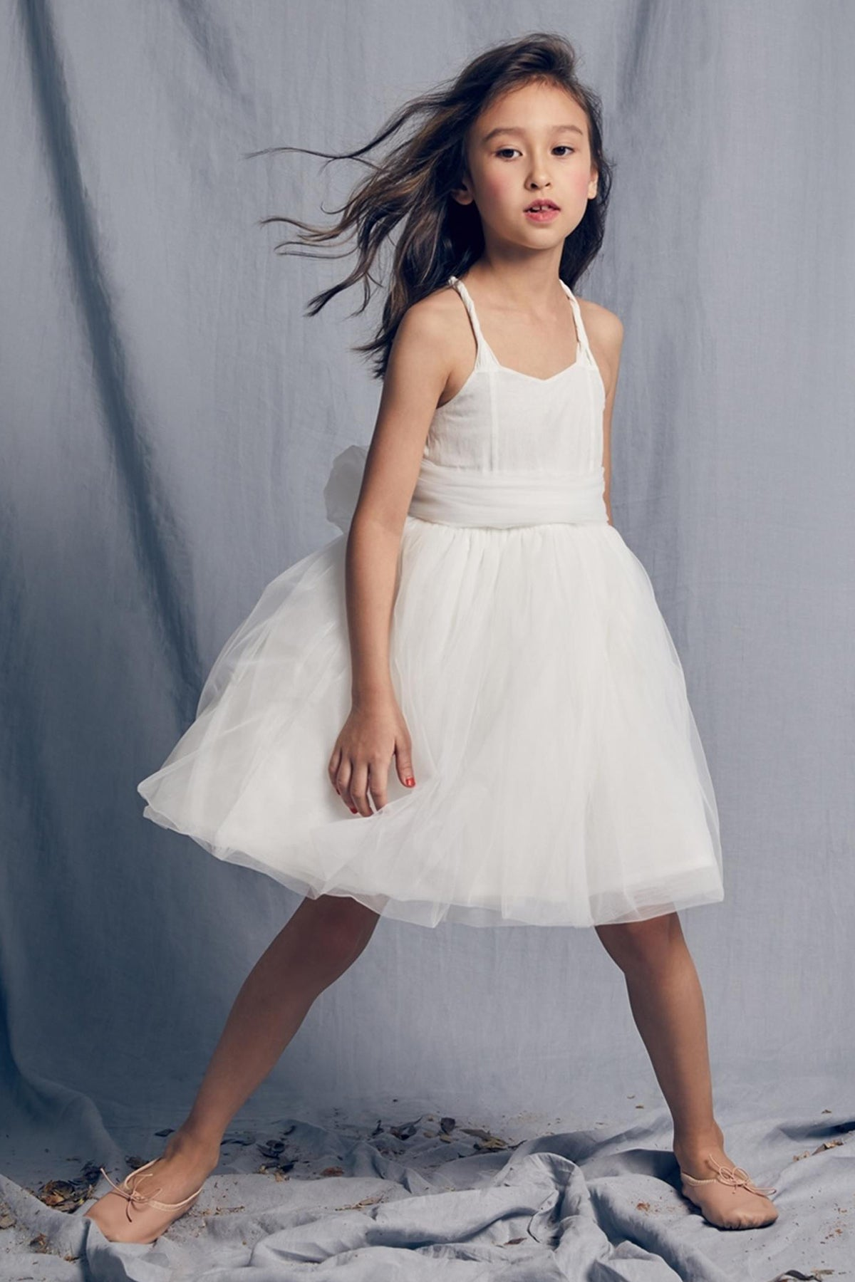 Nellystella Peach Girls Dress - Bright White
