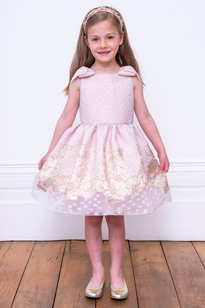 David Charles Pink And Gold Floral Brocade Girls Dress
