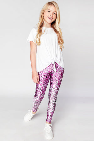 Terez Pink Confetti Stars Girls Leggings