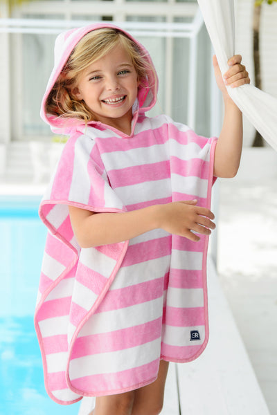 Snapper Rock Hooded Towel Pink Stripe