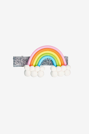 Rainbow and Clouds Hair Clip