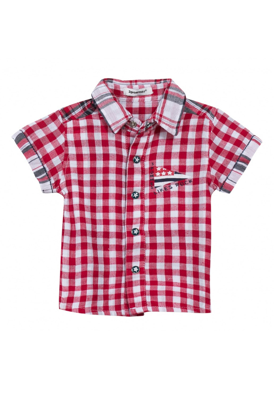 3pommes Baby Boy Red Checkered Shirt